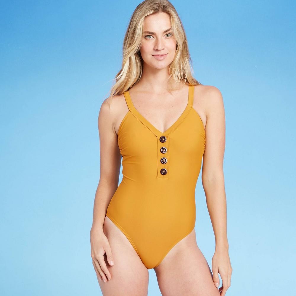 Women 39 S Button Front Classic One Piece Swimsuit Kona Sol 8482 Caramel Yellow M