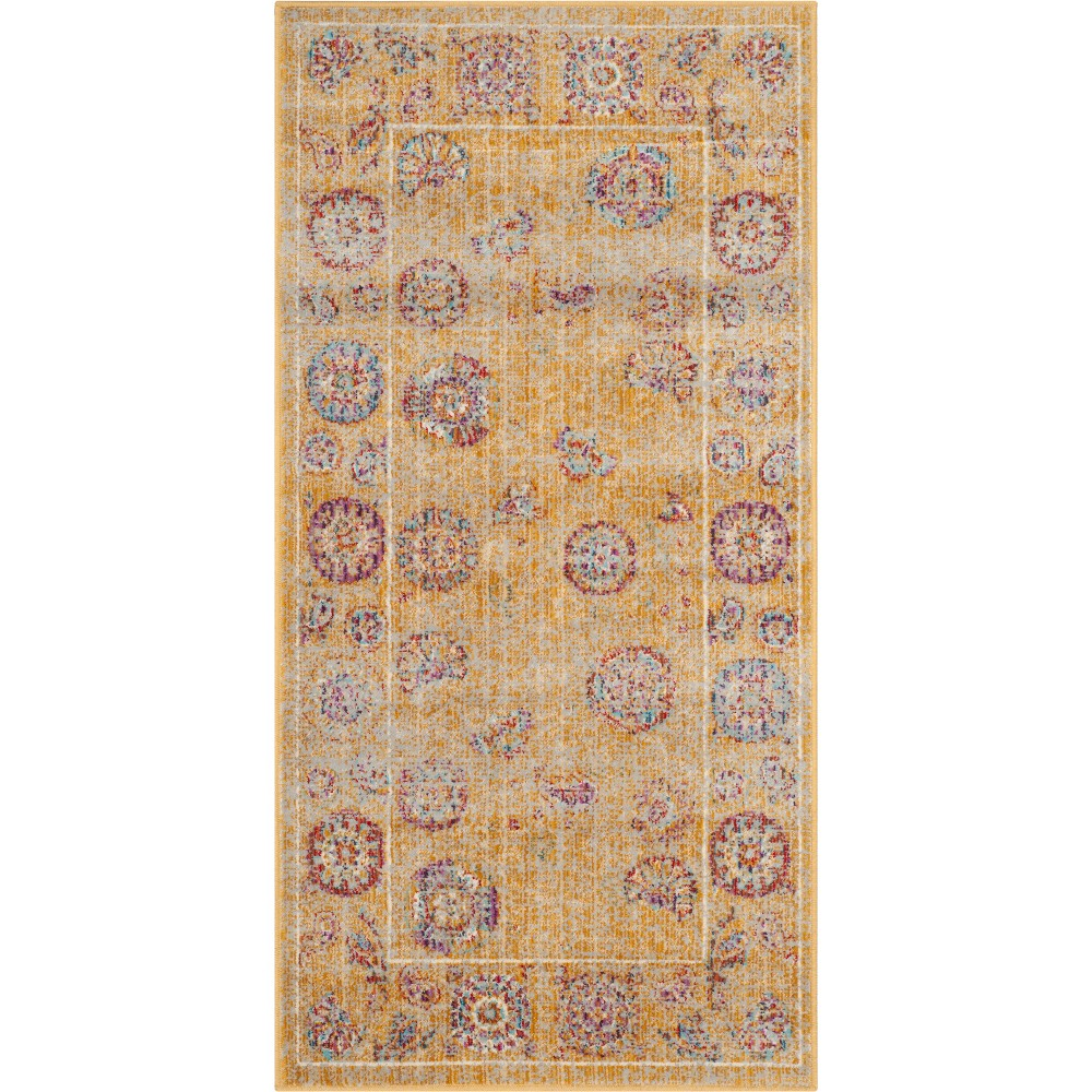 Floral Loomed Accent Rug Gold