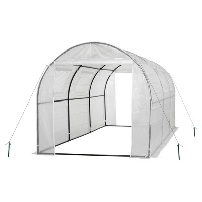 Two Door Walk - In Tunnel Greenhouse With Ventilation Windows And Steel Frame – 15' X 6' X 6' - White - Ogrow