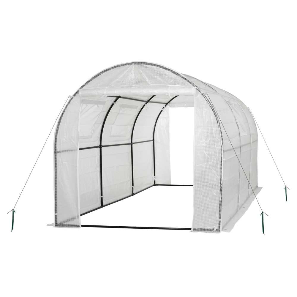 Image of Two Door Walk - In Tunnel Greenhouse With Ventilation Windows And Steel Frame – 15' X 6' X 6' - White - Ogrow
