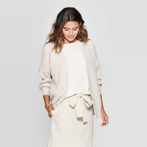 Women's Honeycomb Long Sleeve Open Neck Layering Sweater - Universal Thread™ - image 1 of 3