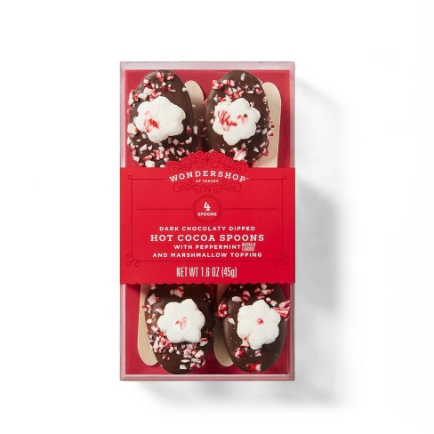 Holiday Dark Chocolate Dipped Hot Cocoa Spoons with Peppermint & Marshmallow Topping - 1.6oz - Wondershop™ - image 1 of 3