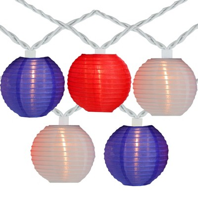 Northlight 10-Count Red and Blue Round Chinese Lantern String Lights, 7.5ft White Wire