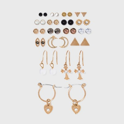Stud, Moon, Wire Hoop with Charm Earring Set 18ct - Wild Fable™