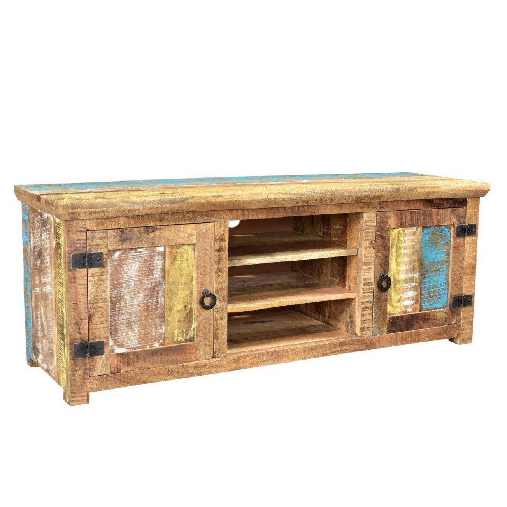 "Image of ""75"""" Suman Solid Mango Wood TV Console with Shelf Natural - Timbergirl"""