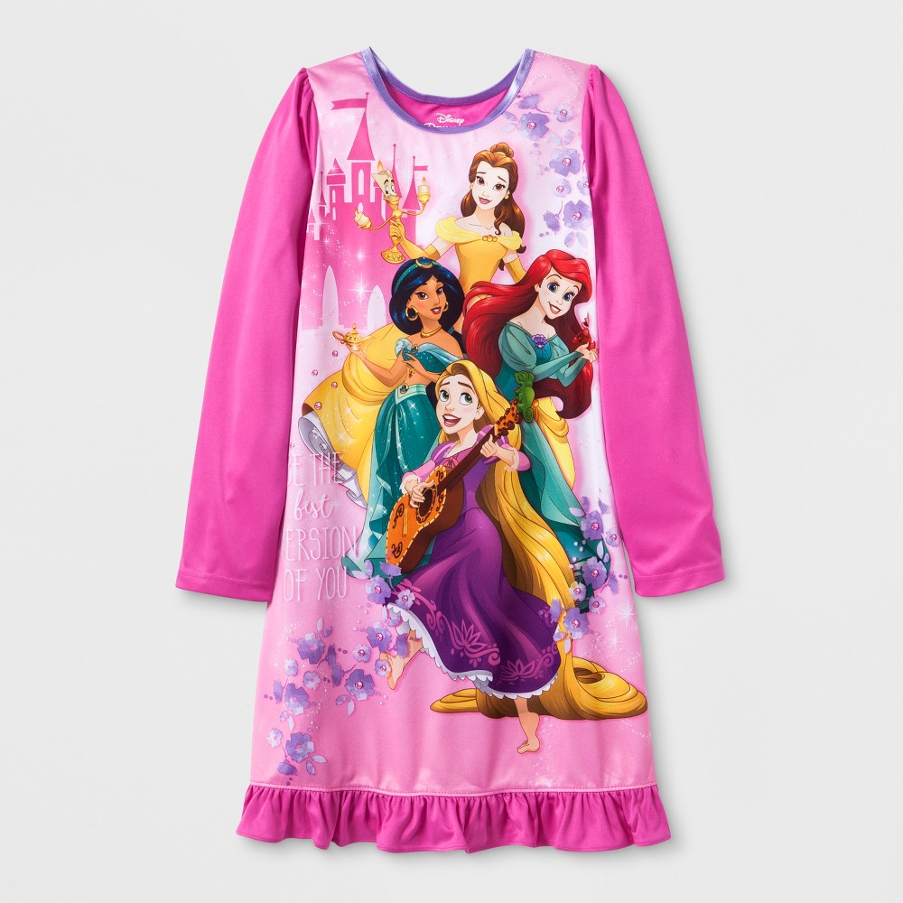 Girls' Disney Princess Nightgown - Pink 4, Multicolored