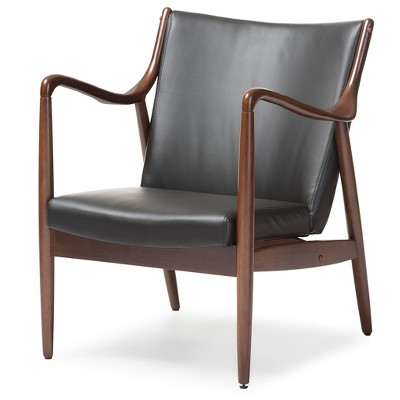 Shakespeare Mid   Century Modern Retro Faux Leather Upholstered Leisure  Accent Chair In Walnut Wood Frame   Black   Baxton Studio