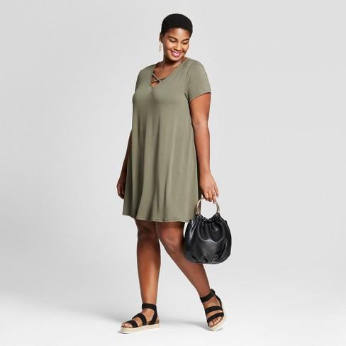 060c8c7dd1e Women s Plus Size Cross Front T-Shirt Dress - Ava   Viv™ Olive 2X ...
