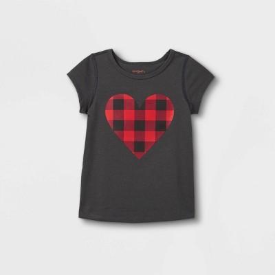 Toddler Girls' Adaptive Buffalo Check Heart Graphic Short Sleeve T-Shirt - Cat & Jack™ Dark Gray