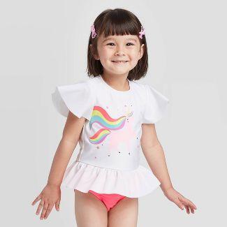 Toddler Girls' Unicorn Flutter Short Sleeve Rash Guard Swimsuit - Cat & Jack™ White 3T