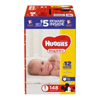 Huggies Snug & Dry Diapers Super Pack - Size 1 (148ct)