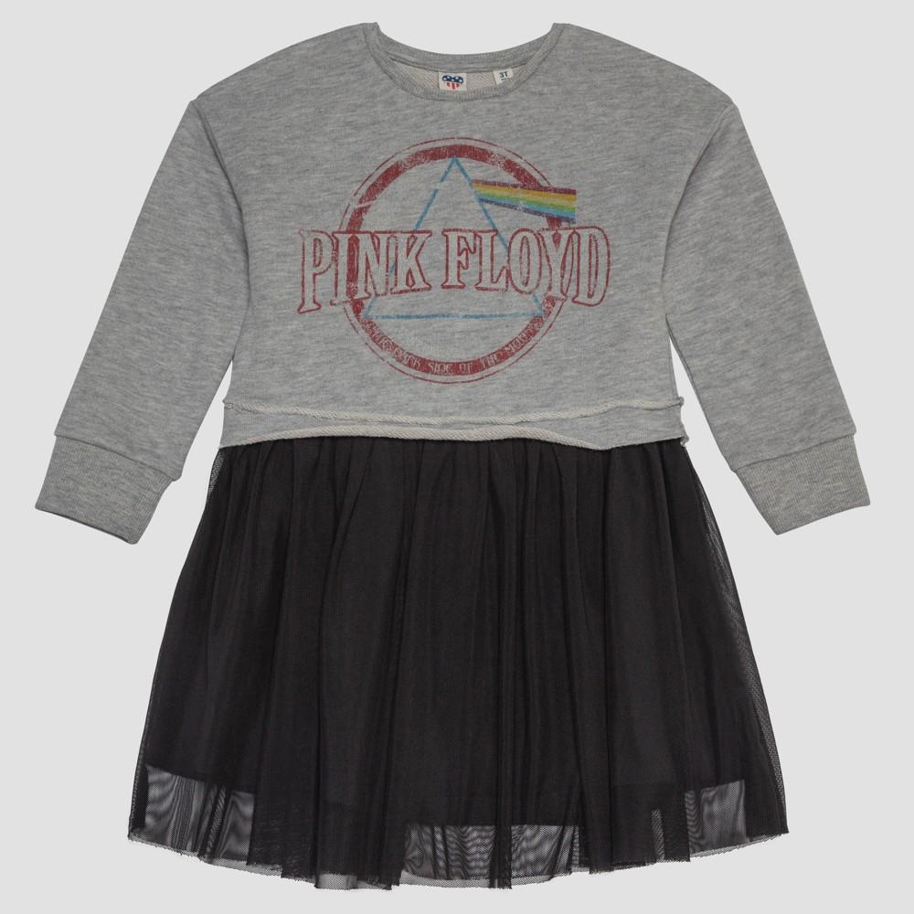 Junk Food Toddler Girls' Pink Floyd Distressed Sweatshirt Dress - Gray 18M