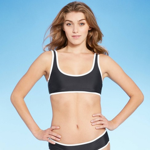 Juniors' Contrast Binding Bralette Bikini Top - Xhilaration™ Black - image 1 of 4