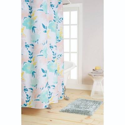 "72""x72"" Callie Cotton Fabric Shower Curtain Blue/Pink - Nicole Miller"