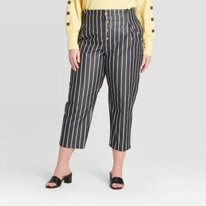 Women S Striped Plus Size High Rise Cropped Pants Who What Wear
