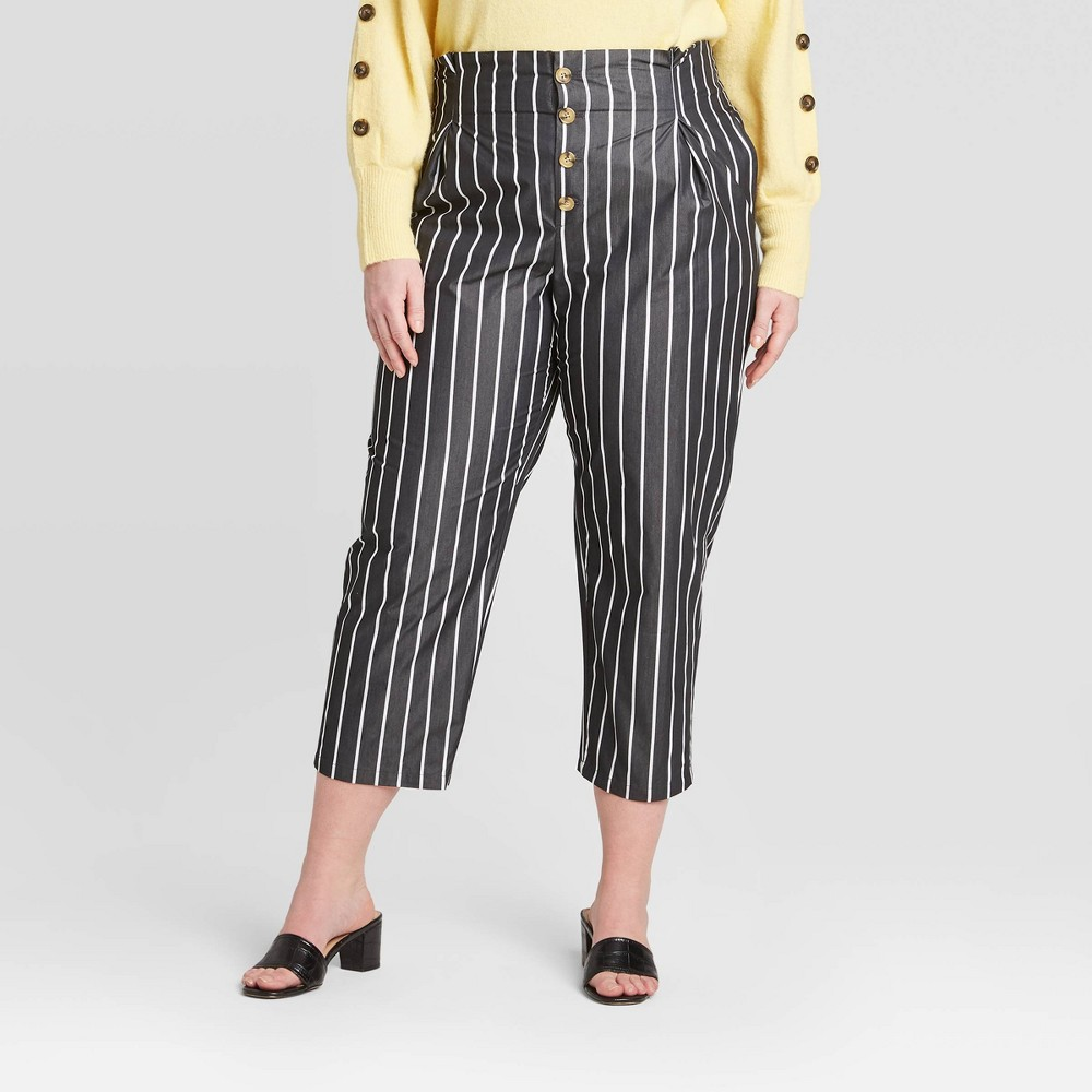 Women's Striped Plus Size High-Rise Cropped Pants - Who What Wear Jet Black 14W, Women's was $34.99 now $24.49 (30.0% off)