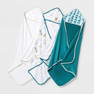 Baby Boys' 3pk Cub Hooded Bath Towel Set - Cloud Island™ White