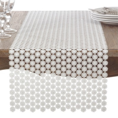 Ivory Floral Table Runner - Saro Lifestyle