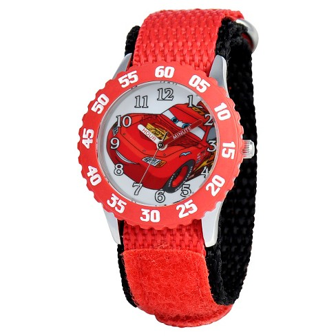 Boys' Disney Cars Stainless Steel Case with Bezel Watch - Red - image 1 of 2