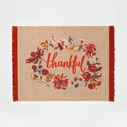 """19""""x14"""" Thankful Placemat Opal Beige - Threshold™ - image 1 of 1"""
