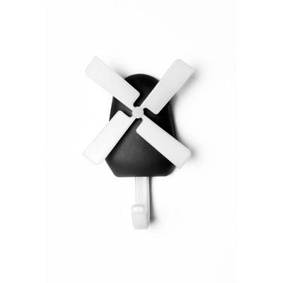"Design Ideas Windmill Wall Hook – Wall Mounted Organization – White & Black, 3"" x 1"" x 0.8"""