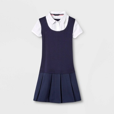 French Toast Girls' Uniform Pleated Dress   Navy by Navy