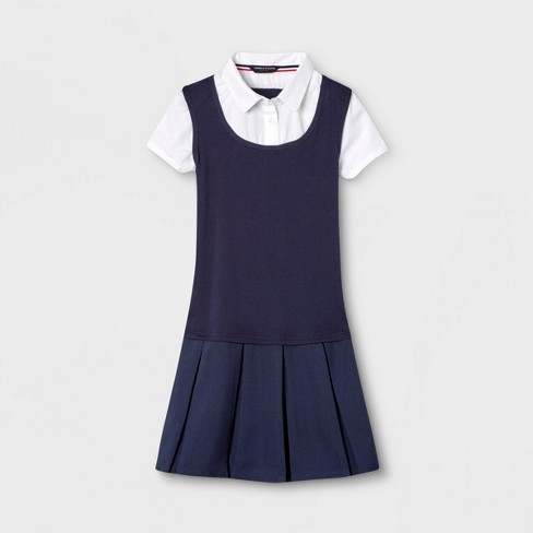 French Toast Girls' Uniform Pleated Dress - Navy - image 1 of 2