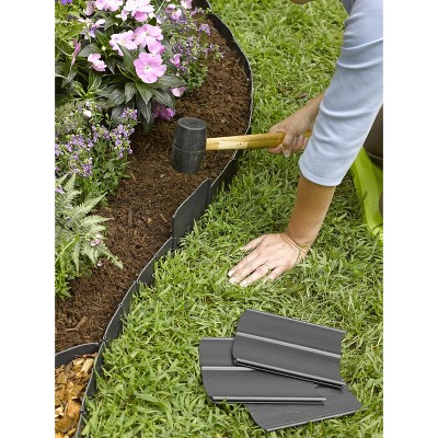 """Easy No- Dig, Pound-In, Interlocking Landscaping Edging Kit 8"""" Tall, 20' Long - Gardener's Supply Company"""