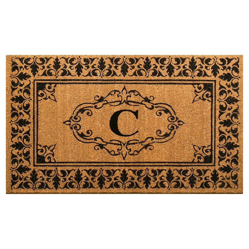 Light Brown Monogram Woven Doormat - (3'x5') - nuLOOM, Light Brown - C
