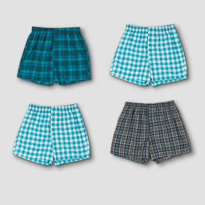 Hanes Premium Men's 4pk Woven Boxer Briefs - Blue/Red Plaid/Green Plaid