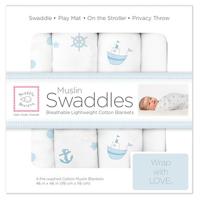 SwaddleDesigns® Cotton Muslin Swaddle Blankets - Ships Ahoy - 4pk - Pastel Blue