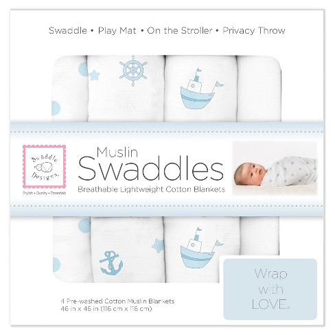 Swaddledesigns Cotton Muslin Swaddle Blankets Ships Ahoy