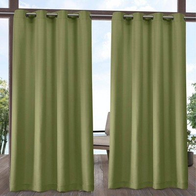 """Set of 2 120""""x54"""" Solid Cabana Grommet Top Light Filtering Curtain Panels Green - Exclusive Home"""