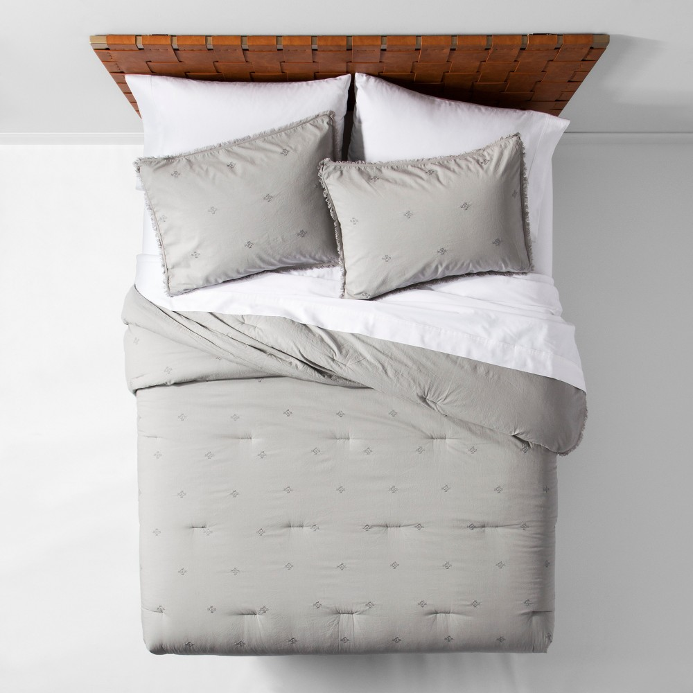 Gray Garment Washed Embroidered Comforter Set (King) - Opalhouse