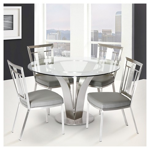 Cleo Contemporary Dining Table Stainless Steel Clear Gl Armen Living