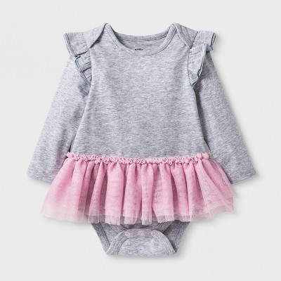 Baby Girls' Long Sleeve Tutu Bodysuit - Cat & Jack™ Heather Gray Newborn