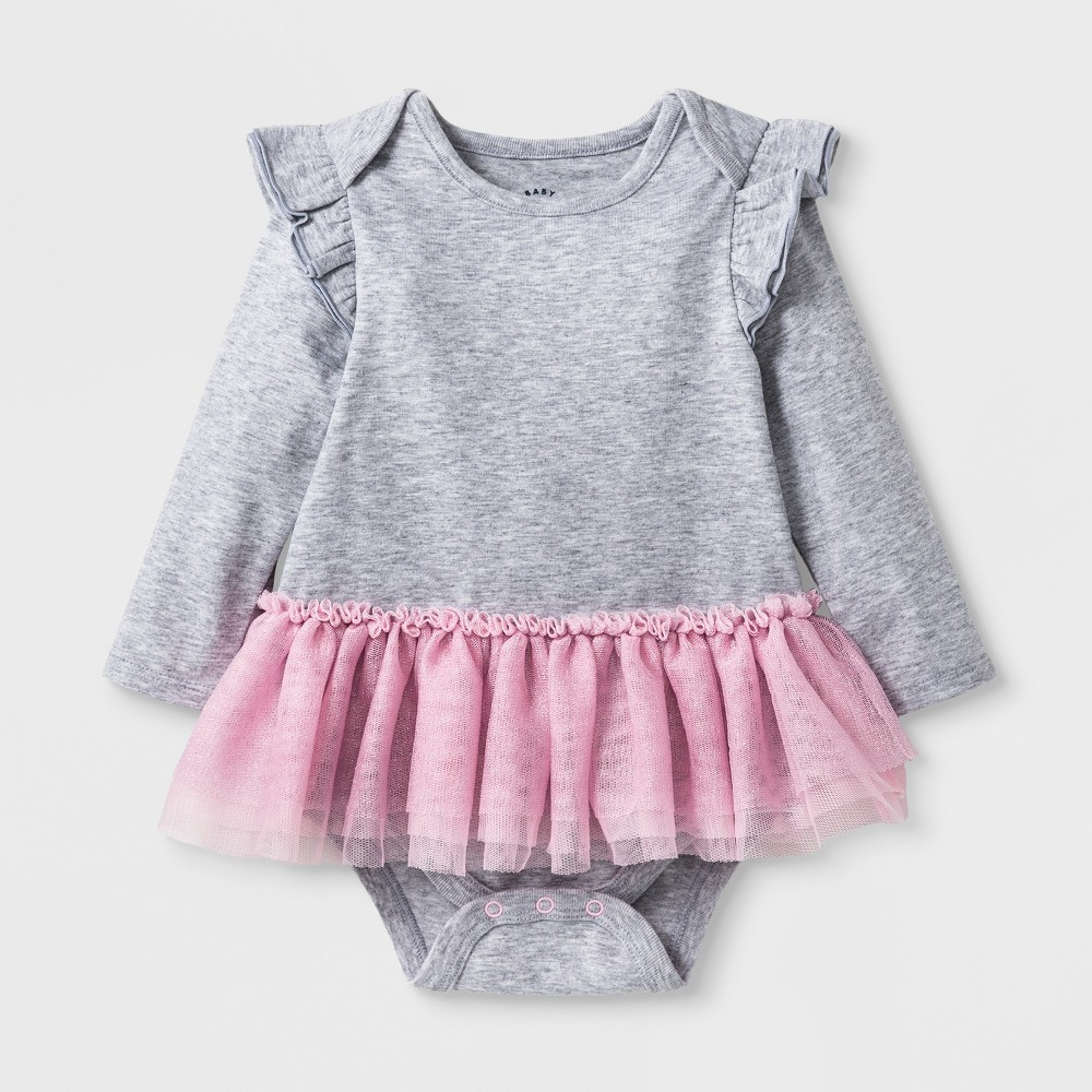 Baby Girls' Long Sleeve Tutu Bodysuit - Cat & Jack Heather Gray Newborn