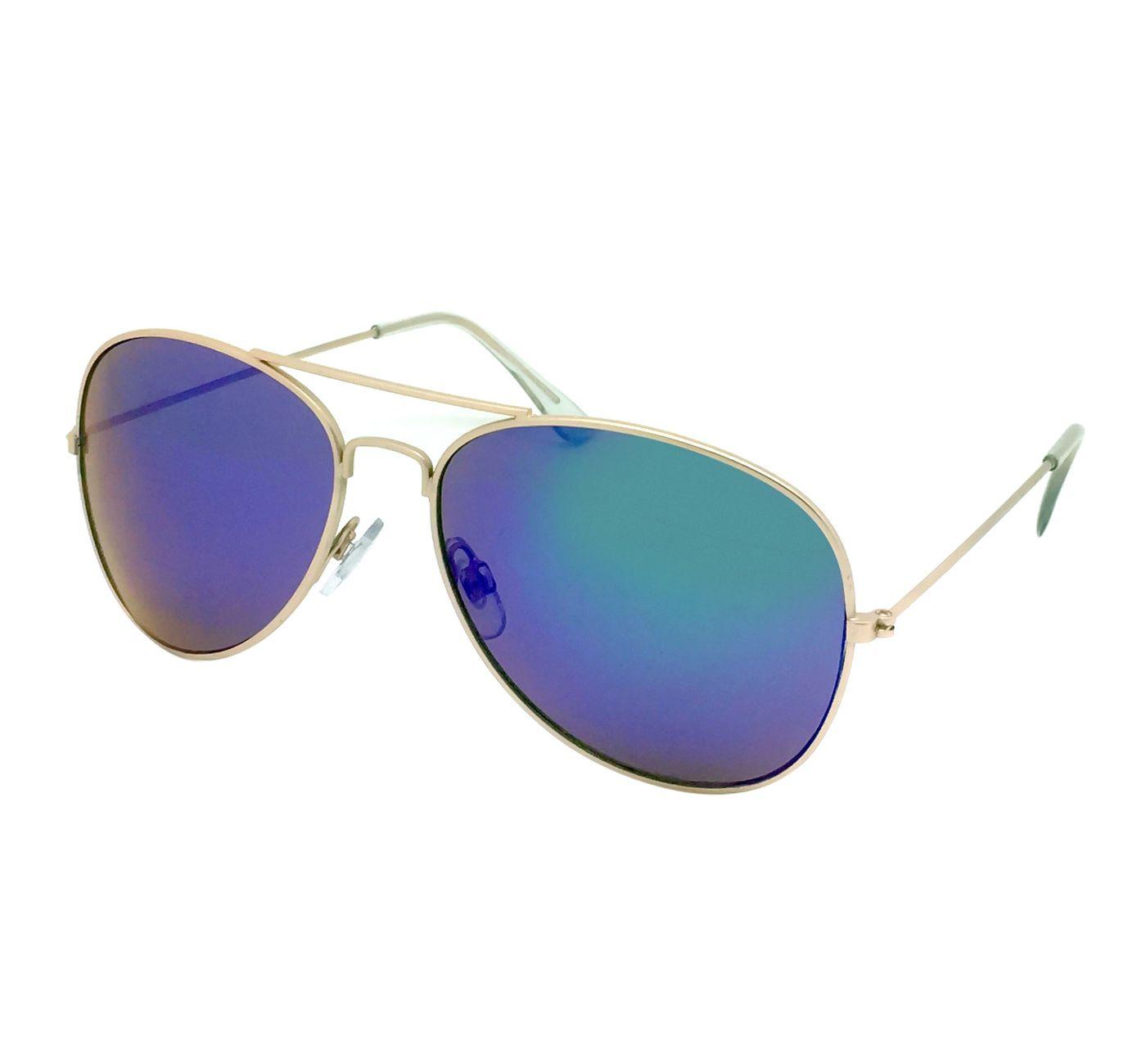 Women's Aviator Sunglasses w/ Blue Lenses - Wild Fable™ Gold - image 1 of 6