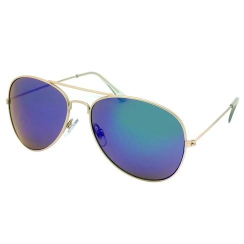 Women's Aviator Sunglasses w/ Blue Lenses