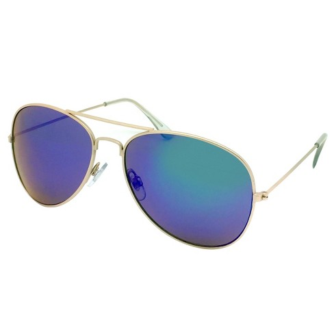 35c17b179c9 Women s Aviator Sunglasses W  Blue Lenses - Gold   Target