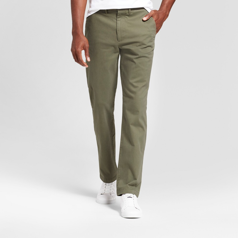 Men's Slim Fit Hennepin Chino Pants - Goodfellow & Co Olive 36X34, Green