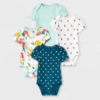 Baby Girls' 4pk Floral Fields Short Sleeve Bodysuit - Cloud Island™ Green/White 0-3M