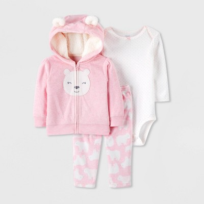 Baby Girls' 3pc Bear Fleece Cardigan,Bodysuit Top & Bottom Set - Just One You® made by carter's Pink/White 3M