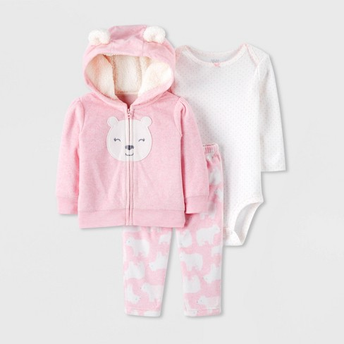 Baby Girls' 3pc Bear Fleece Cardigan,Bodysuit Top & Bottom Set - Just One You® made by carter's Pink/White - image 1 of 1