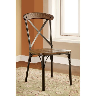 IoHomes X Crossed Back With Wooden Seat Side Chair Metal/Bronze (Set Of 2)