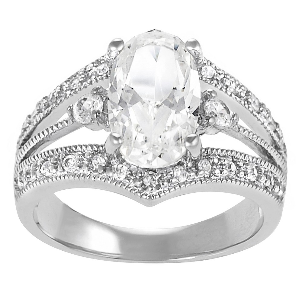 6 7/8 CT. T.W. Oval-cut Cubic Zirconia Engagement Prong Set Ring in Sterling Silver - Silver, 8, Girl's