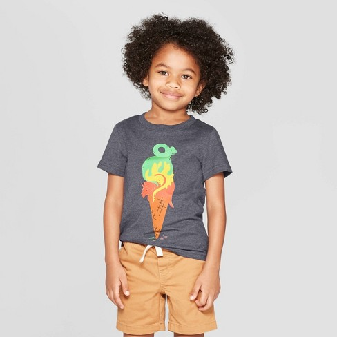 Toddler Boys' Short Sleeve Dinosaur Ice Cream T-Shirt - Cat & Jack™ Dark Gray - image 1 of 3