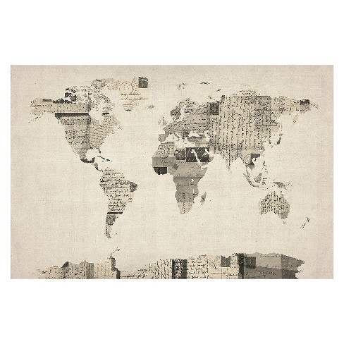 Vintage Postcards World Map\' by Michael Tompsett Ready to Hang ...