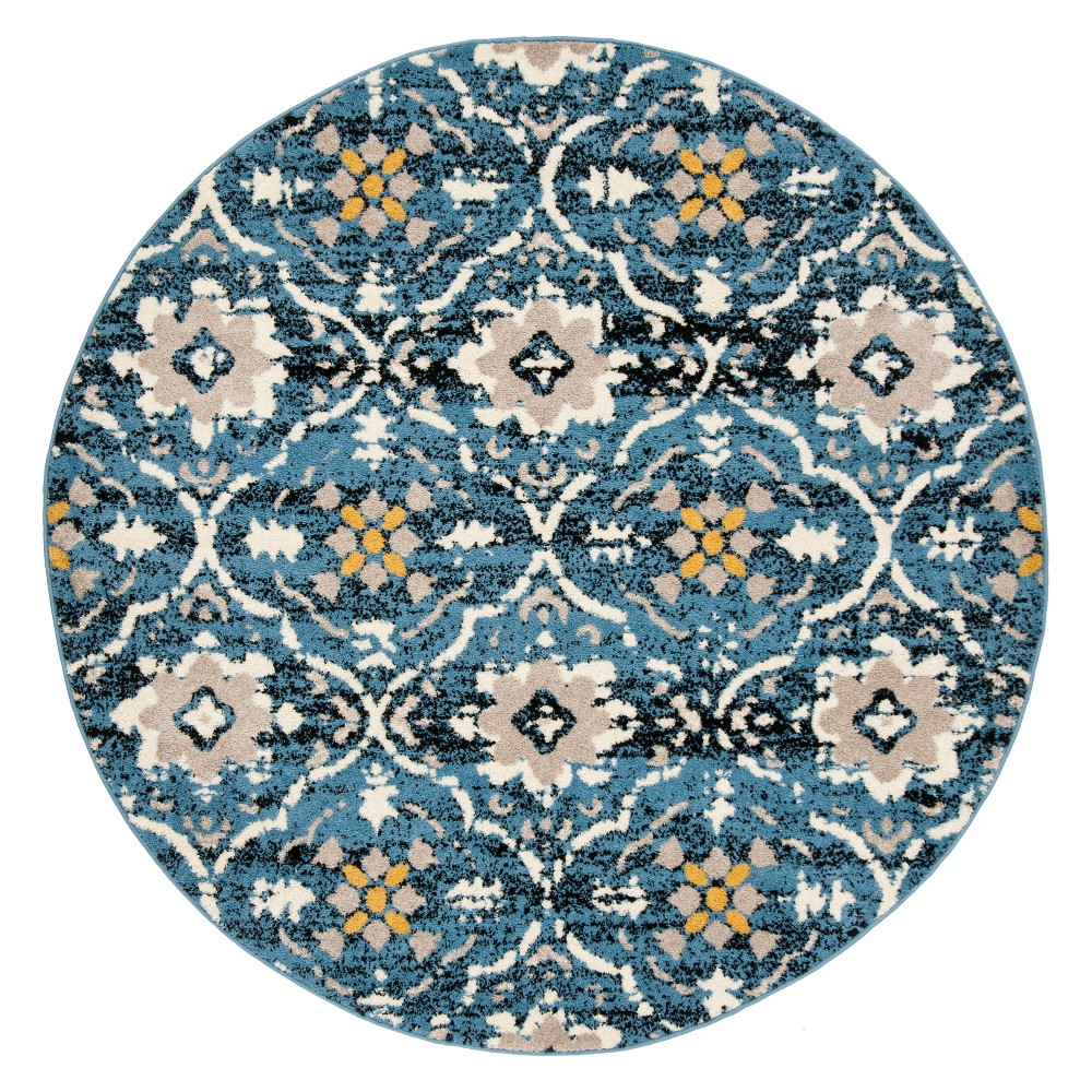 6'7 Medallion Loomed Round Area Rug Blue/Cream - Safavieh, Off-White Blue