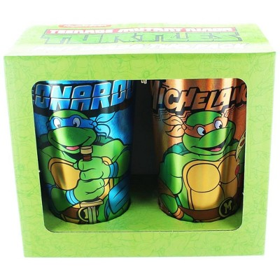 Just Funky Teenage Mutant Ninja Turtles Leo & Mike Foil Print Pint Glass 2-Pack